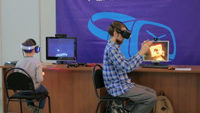 Young man using virtual reality glasses. VR Royalty Free Stock Image