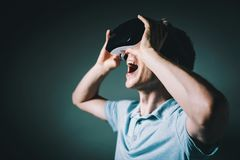 Young man with a virtual reality headset royalty free stock image