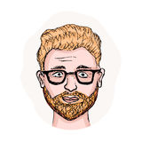 Young man vector avatar. Vector illustration of a young man with a red beard and trendy sunglasses. Cartoon vector avatar. Bearded face of hipster. Vector hand Stock Photo