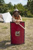Boy in combat gladiator armor royalty free stock photo