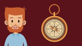 Man and travel HD animation. Young man and vintage navigation compass High definition colorful animation scenes stock video footage