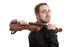 Young man with the violin Stock Photography