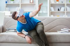 The young man with virtual glasses. Young man with virtual glasses Royalty Free Stock Images