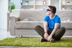The young man with virtual glasses. Young man with virtual glasses Stock Photography