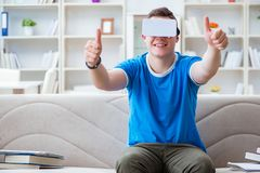 The young man with virtual glasses. Young man with virtual glasses Royalty Free Stock Image