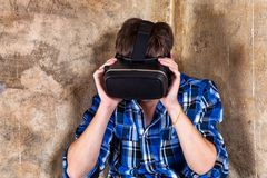 Young Man in VR Glasses Royalty Free Stock Image