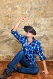 Young Man in VR Glasses Royalty Free Stock Images