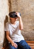 Young Man in VR Glasses Royalty Free Stock Photos