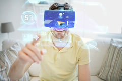 Young man in virtual reality headset or 3d glasses. Technology, gaming, entertainment and people concept - happy young man in virtual reality headset or 3d Royalty Free Stock Photography