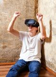 Young man in VR mask Stock Photo