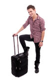 Young man waiting at airport Royalty Free Stock Photo