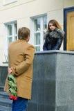 Young man waiting his girlfriend. Royalty Free Stock Photos