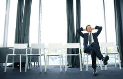 Young man waiting for job interview indoors. Royalty Free Stock Photos