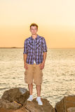 Young Man Waiting for You on Sunset Royalty Free Stock Image