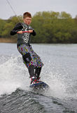 A young man wake-boarding Stock Photo