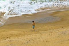 Young Man Walking at Beach Pipa Brazil Royalty Free Stock Images