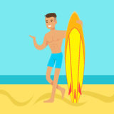 Young man walking on the beach with surfboard. Colorful vector Illustration Royalty Free Stock Photography