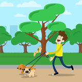Young man walking dog in park. Young man in yelllow t-shirt walking two dog in park stock illustration