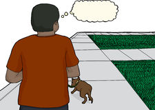 Young Man Walking Dog on Sidewalk Stock Images
