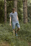 Young man walking in forest looking down. Young man walking in forest, looking down Royalty Free Stock Photos