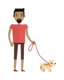 Young Man Walking His Dog Royalty Free Stock Photo