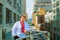 Young man walking in New York in Ukrainian shirt