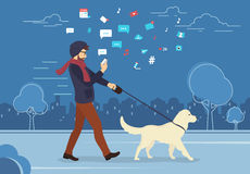 Young man walking outdoors with his dog in the evening. Man walking outdoors with dog in the evening and using smartphone to read news and messages in social vector illustration