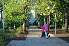 Young man walking in park with double pram and two kids in it Royalty Free Stock Photo