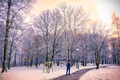 A young man walking in pathway amidst snow,Gothenburg,Sweden 201 royalty free stock photography