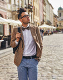 Young man walking on town Royalty Free Stock Images