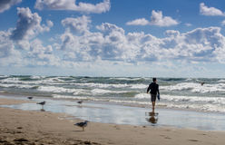 Young man walking on a wild beach Stock Image