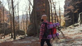 Young man walking in the woods with a backpack on his shoulders. The man travels around Europe in the autumn season. Slow motion stock footage