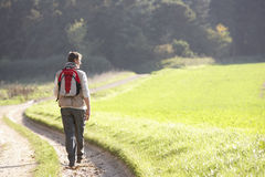Young man walks in park Stock Images