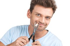 Young man wants to quit smoking. Stock Image