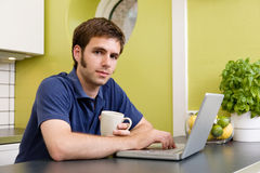 Young Man with Warm Drink at C Stock Photos