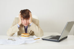 Young man was going to eat sandwich Royalty Free Stock Photos