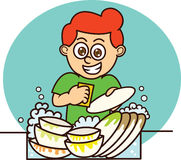Young Man Washing Dishes Cartoon Illustration Stock Images