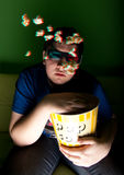 Young man watch 3d movie at home Stock Image