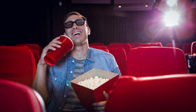Young man watching a 3d film Stock Photos