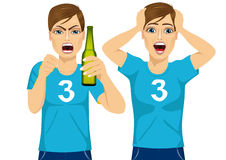 Young man watching sports on tv. Young man in two different poses watching sports on tv grabbed his head screaming and drinking beer - sports, happiness and Stock Photos
