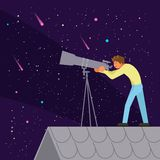 Man watching night sky vector flat illustration. Young man watching through telescope at night sky while standing on the roof of house. Vector illustration in stock illustration