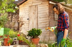 Man watering plants with hosepipe in the backyard stock images