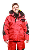 Young man in waterproof clothing. Stock Photo
