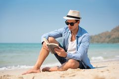 Young man wear hat and sunglasses stock images