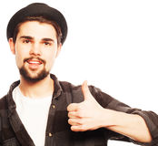 Young man  wearing black hat Royalty Free Stock Photo