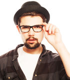 Young man  wearing black hat Stock Photography