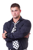 Young man wearing black shirt and necktie Royalty Free Stock Image