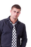Young man wearing black shirt and necktie Royalty Free Stock Photos