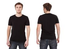 Young man wearing blank t-shirt isolated on white background. Co. Py space. Place for advertisement Stock Photos