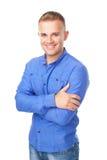Young man wearing a blue shirt Royalty Free Stock Photos